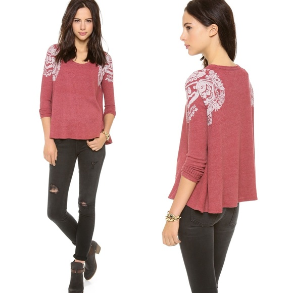 Free People Red Rockabilly Thermal Long Sleeve XS
